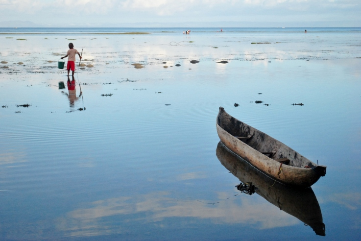 Child Fishing at Low Tide