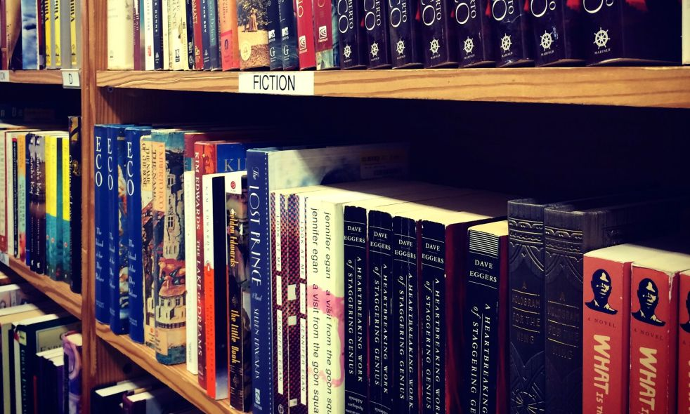 Fiction books in a bookstore