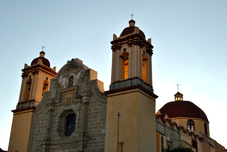 Cathedral in Oaxaca City, Mexico, Sunset
