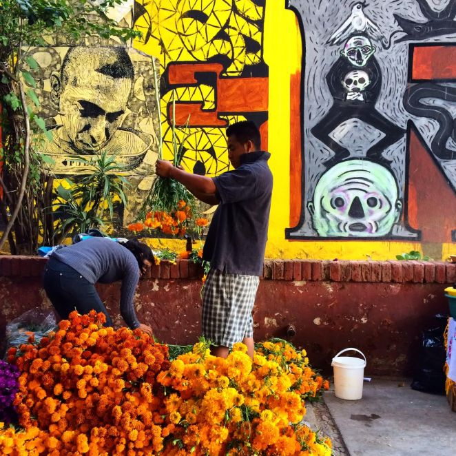 Day of the dead, flowers, Oaxaca City, Mexico
